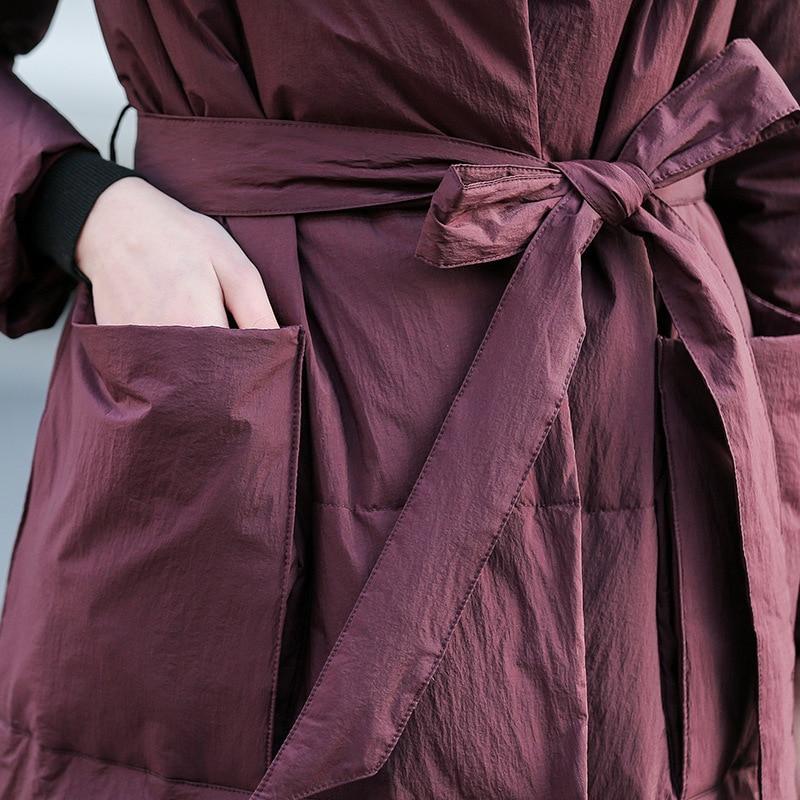De Duvet Nouvelle Parkas Ceinture Outwear Black Veste Vestes E27 D'hiver Manteau Épaisse Lâche Canard Luxe Femmes Qualité Haute burgundy Longues Blanc Avec ATxrvAqwF