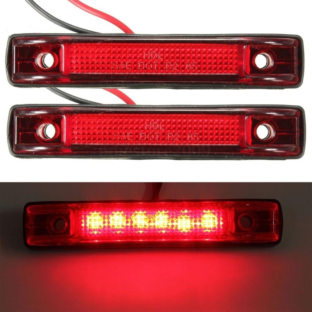 Голубой залив почвы 2х 6 светодиодный зазор боковые Габаритные свет лампы Индикатор грузовой автомобиль прицеп колесах 12V Красный 24В