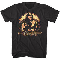 Conan the Barbarian Vintage Metallic Shield Men's T Shirt Schwarzenegger Movie