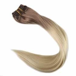 Полный блеск коричневый Омбре цвет прямой зажим в наращивание волос 7 шт. Цвет #6 выцветание до 613 блондинка двойной уток 100 г Remy Клип Ins