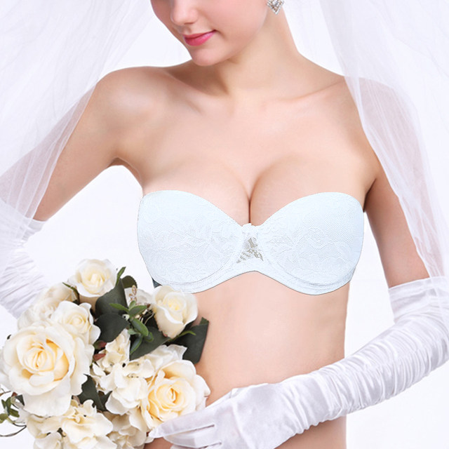 bef16a03cab10 New Wedding Bride Underwear Multiway Floral Lace Push Up Bra Invisible  Strapless Clear Back Bras Size 32 34 36 38 40 A B C D Cup