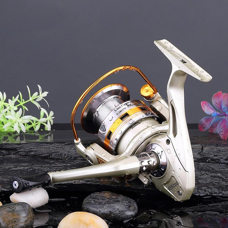 Mmlong Deep Aluminium Spool Fishing Reel KF50-60 8BB Feeder Fishing Baitcasting Reels Metal Folding Arm Spinning Wheel