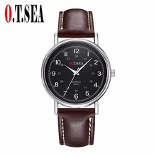 Luxury Fashion Faux Leather Men Blue Ray Glass Quartz Analog Watches Casual Cool Watch O.T.Sea W043 new luxury fashion faux leather men blue ray glass quartz analog watches casual cool watch brand men watches 2016 1122