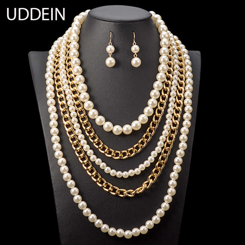 UDDEIN bridal trang sức thiết simulated trân maxi vòng cổ nữ vintage trang sức cưới multi layer beads Phi jewelry đặt
