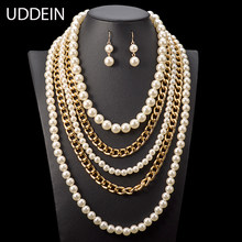 UDDEIN bridal jewelry sets simulated pearl maxi necklace women vintage jewellery wedding multi layer African beads jewelry set(China)