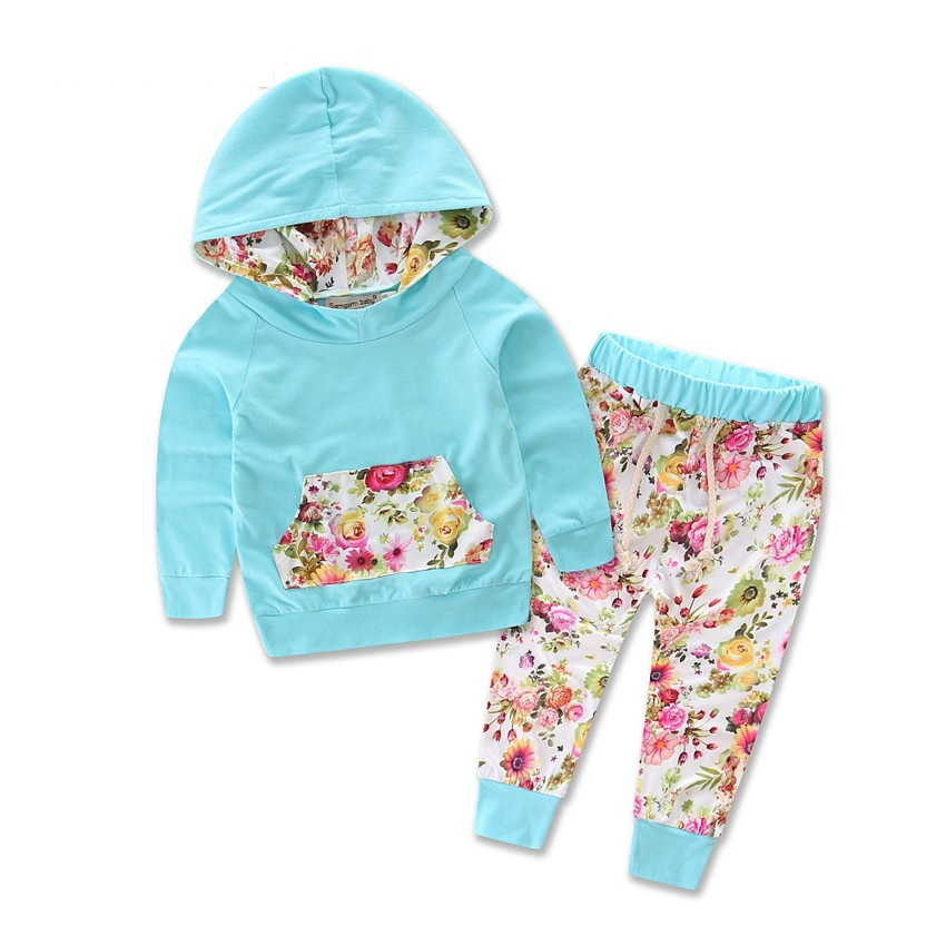 2018 Spring Autumn Baby Girls Clothing Set Leopard Hooded Tops + Flower Pants 2pcs Baby  ...
