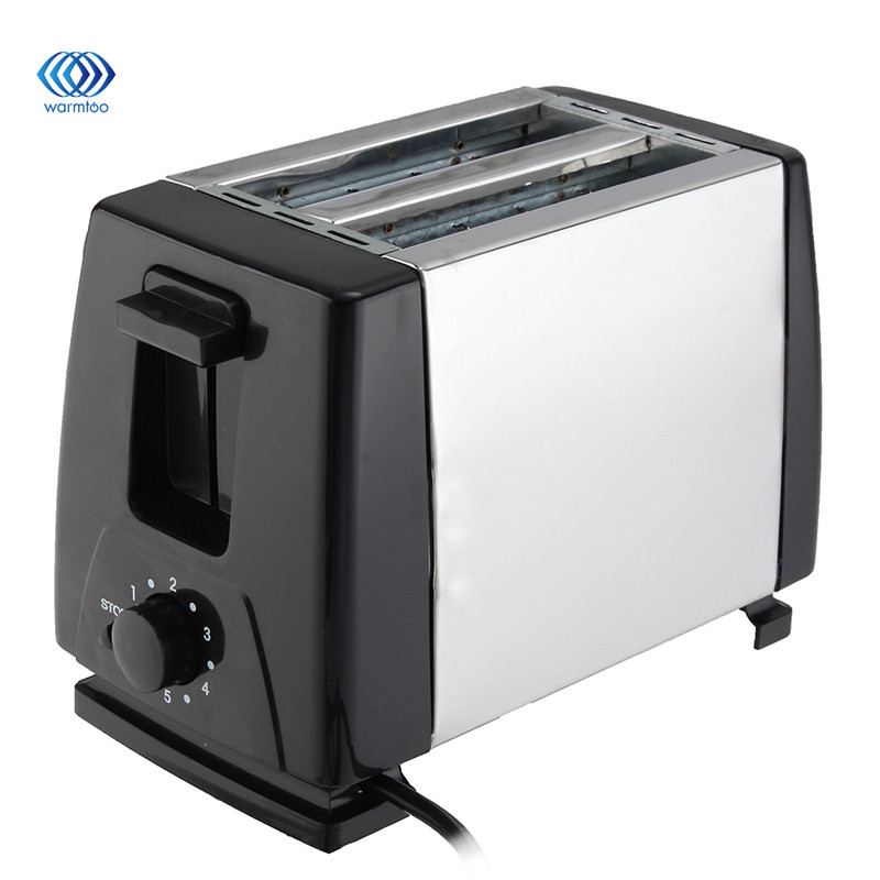 EU Plug Stainless steel Automatic Bread Toaster Baking Breakfast Machine 2 Slices Slots Bread Maker 230V 750W Household stainless steel household portable electric toaster breakfast machine automatic bread baking maker fried eggs boiler frying pan