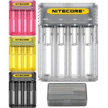 Nitecore Q4 śliczne ładowarka do akumulatorów 18650 ładowarka 18350 14500 16340 RCR123 26650 IMR 12 V wejście dla baterie aa aaa tanie i dobre opinie Elektryczne Standardowa bateria WYJŚCIE USB