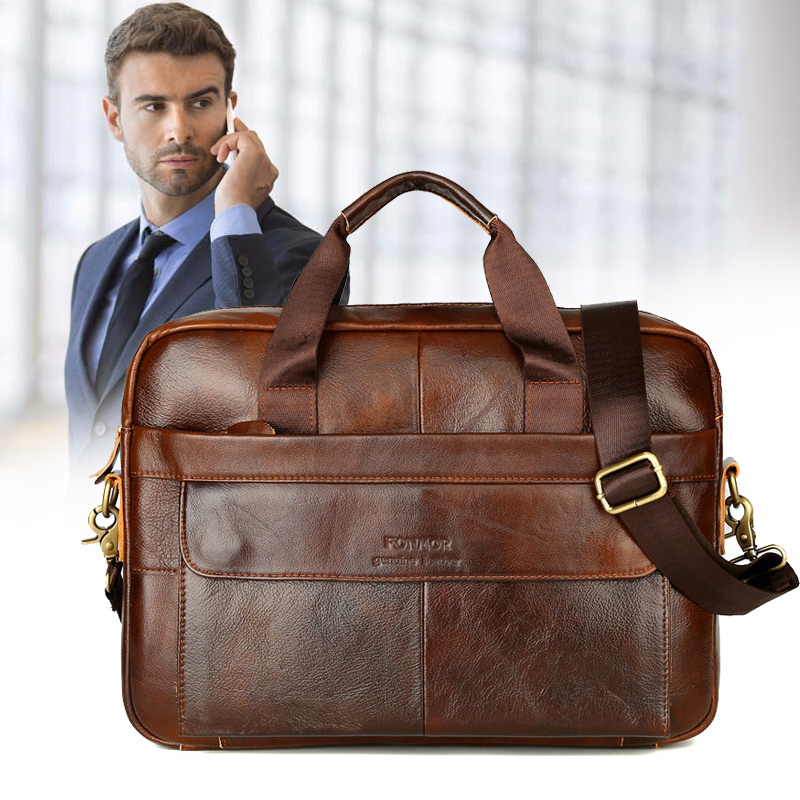 Men Genuine Leather Vintage Handbag Business Shoulder Bag Briefcase Messenger PO66