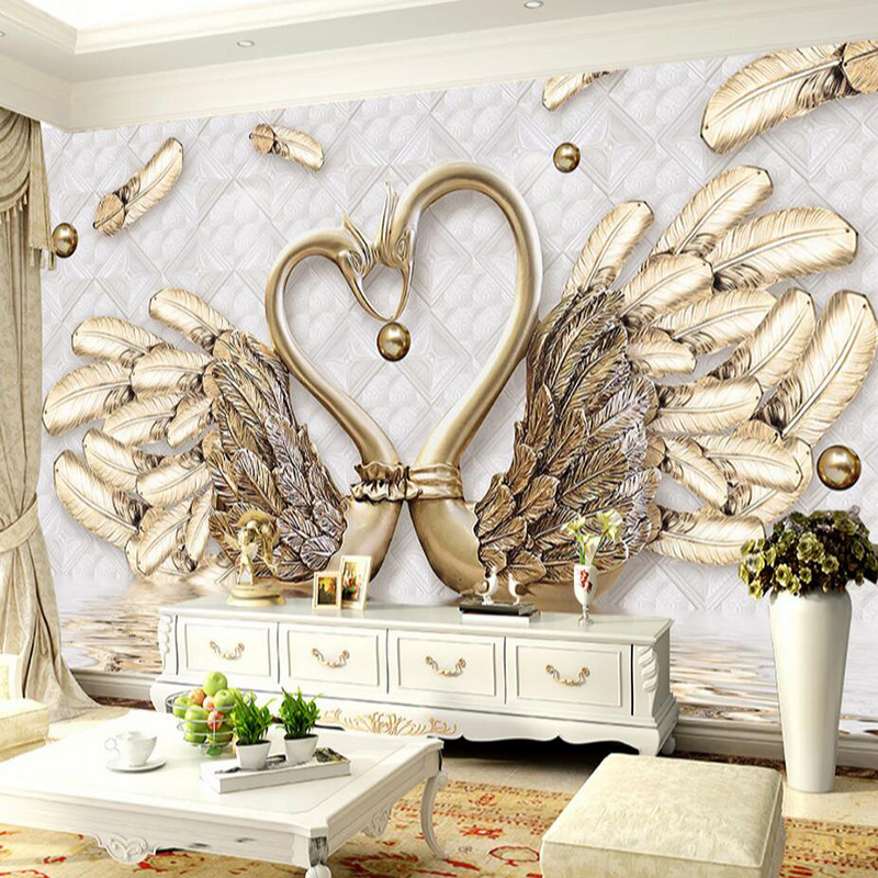 High quality deep texture relief 3d murals swan gold leaf for Mural jewellery
