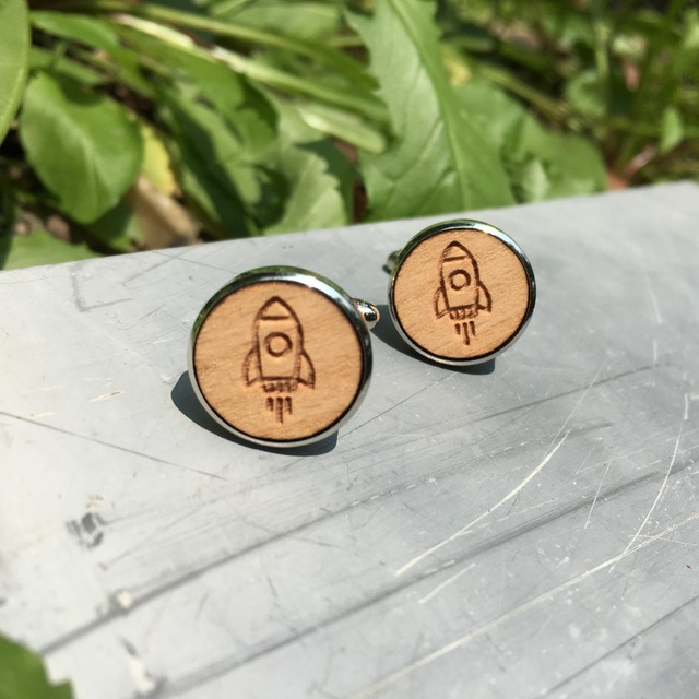Wooden Cuff Links Wedding Groomsmen Spaceship Wood Jewelry X 1 Pair