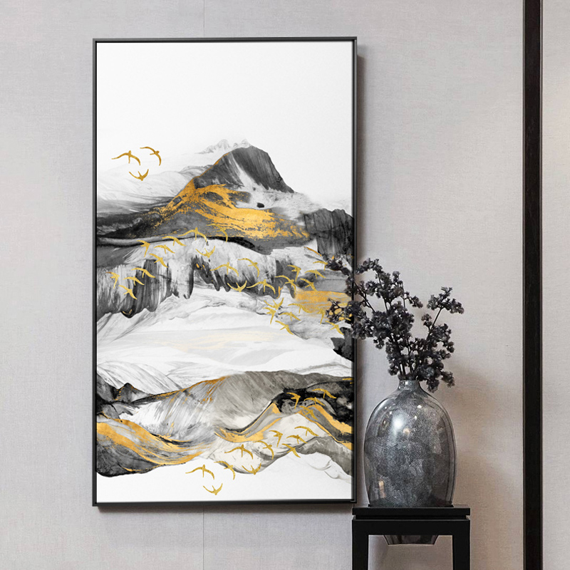 Abstract Painting Foggy Forest Lanscape Mountain wall art ...