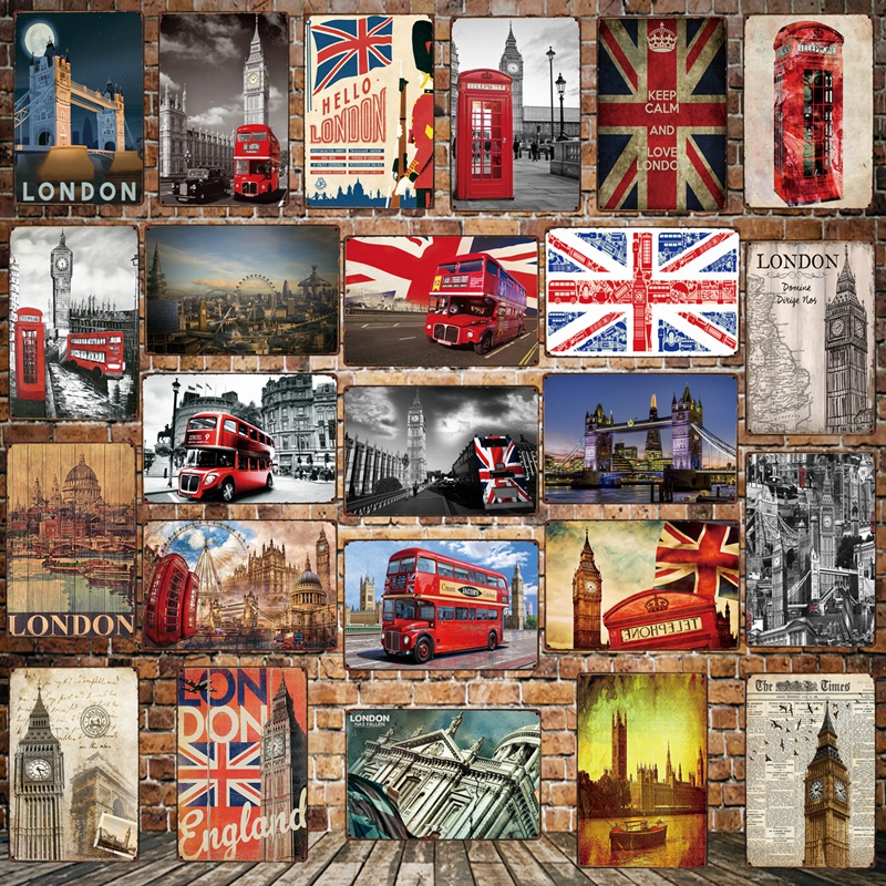 Mike86 LONDON Red double decker BUS Big Ben STYLE Metal Sign Wall Plaque Poster Painting art Christmas Decor Art FG 516 in Plaques Signs from Home Garden