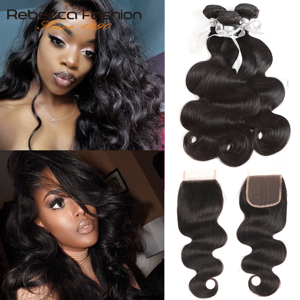 Rebecca Brazilian Hair Weave Bundles Cheap 8A Bodywave 2 3 4 Human Hair Bundles With Closure