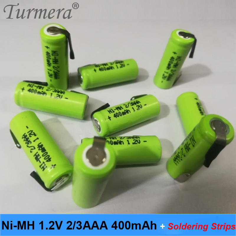 nimh battery 2/3 <font><b>aaa</b></font> battery 1.2v 400mah welding strips wireless mouse rechargeable battery toothbrush electric toy car battery image