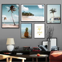 Coconut Tree Painting Nordic Blue Sea Landscape Canvas Print Beach Picture Pineapple Wall Art Nature Unframed