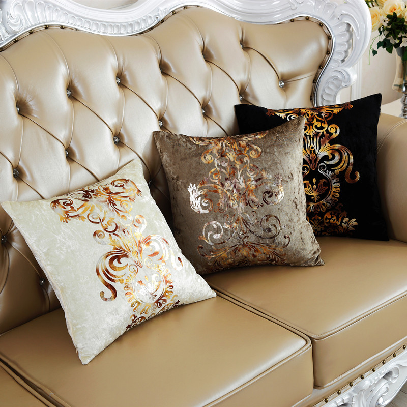 Luxury Bronzing Print Pillowcases Silk Velvet Pillows Case Cover Retro Vintage E White
