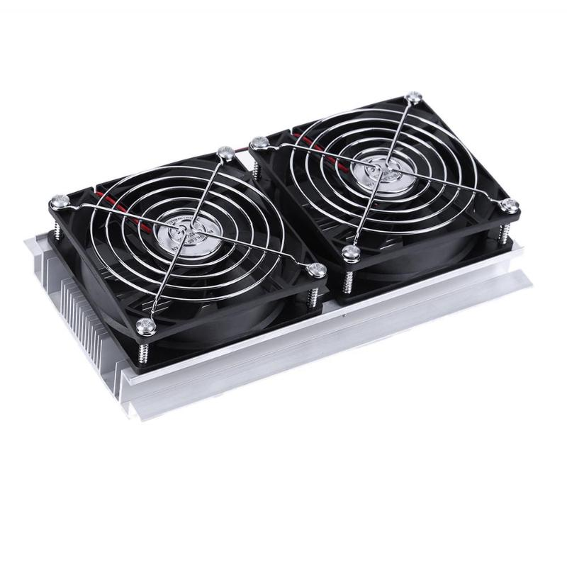 New Semiconductor Dikaryon Small Refrigeration Air Conditioner Cooling Device 2 x Double Fan DIY Computer Components semiconductor refrigeration unit 24v mini air conditioner small suite diy electronic chiller kit