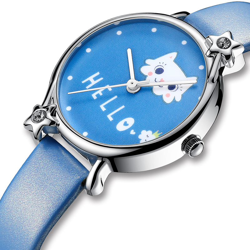 KDM Lovely Girl Watch Cute Cat Child Watches Waterproof Kids Watch Genuine Leather Kid Children Wristwatch Student Girls Clock