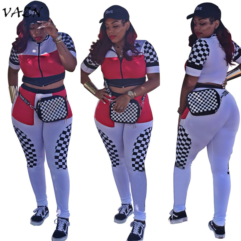VAZN Hot Fashion Elegant Style 2018 2 Pieces Casual Women Set Plaid Zipper Turtleneck Short Sleeve Long Pants Set SJ3102