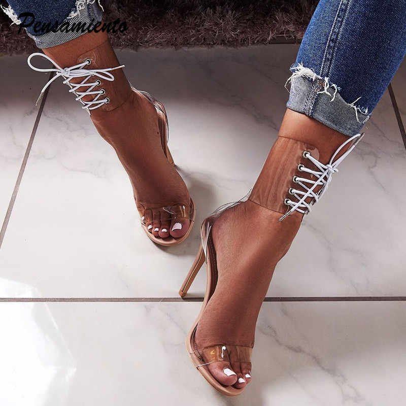 2019 Runway style Women sandals Sexy Ankle Cross-tied Thin high heels  Transparent PVC Gladiator 3a476eca6015