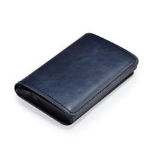 Metal Credit Card Holder Automatic Pop Up Vintage Aluminum Wallet PU Leather Antitheft Rfid Blocking Wallet Pass Port Holder(China)