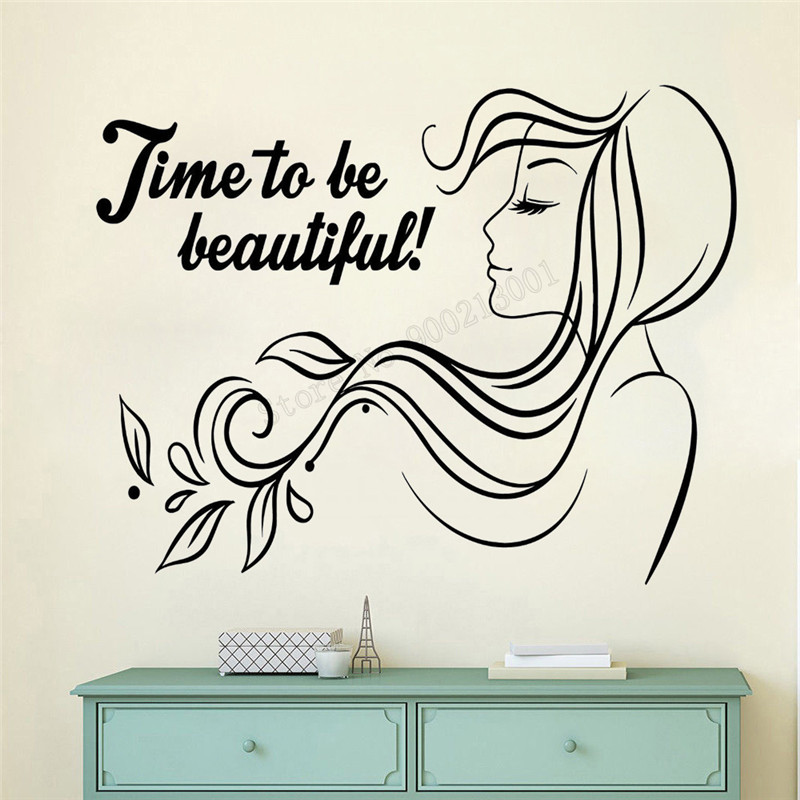 Art Wall Sticker Beauty Salon Wall Decoration Women Haircut Decor Quotes Poster Modern Fashion Mural Removeable Sticker Ly257 Wall Stickers Aliexpress