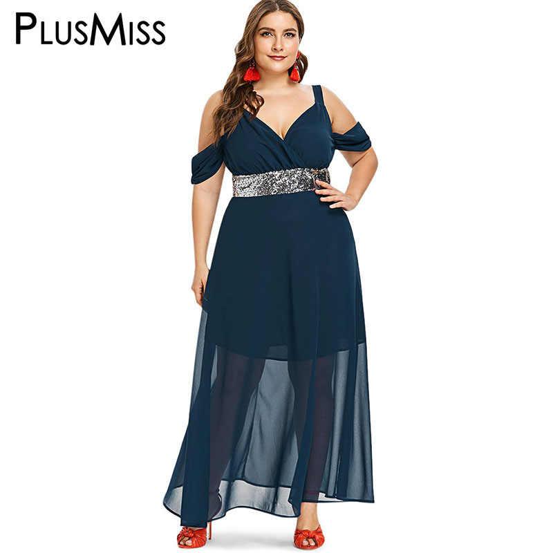 PlusMiss Plus Size Off Shoulder Sexy Elegant Party Dresses Women 5XL XXXXL  XXXL XXL Chiffon Mesh 42c4a12d7340
