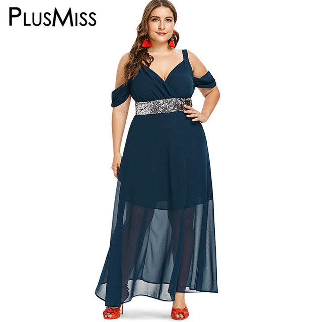 PlusMiss Plus Size Off Shoulder Sexy Elegant Party Dresses Women 5XL XXXXL  XXXL XXL Chiffon Mesh Sequin Maxi Long Dress Big Size c5bb01f57f86
