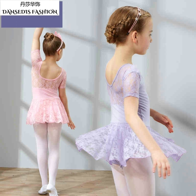 7d9fc9314 Newest Pink Light purple Kids Lace Ballet Leotard Tutu