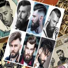 Hair salon tattoo posters wall sticker 30X42 CM nostalgia retro kraft paper HD Inkjet printing art barber shop decoration(China)