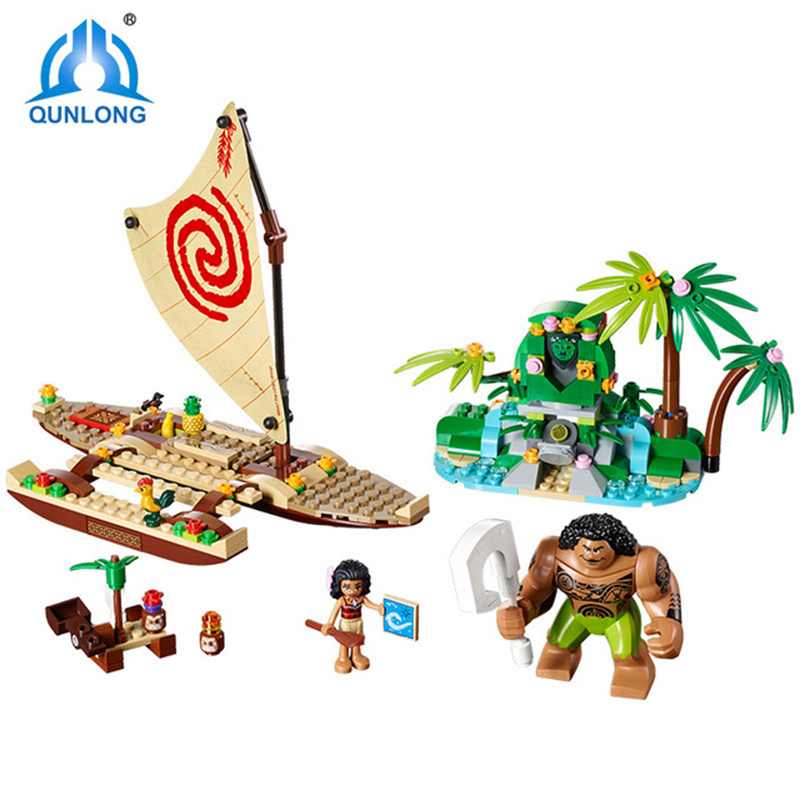 Qunlong Moana's Ocean Voyage Compatible Legoings Friends Building Blocks Maui Princess Moana DIY Model Bricks For Kid Gifts