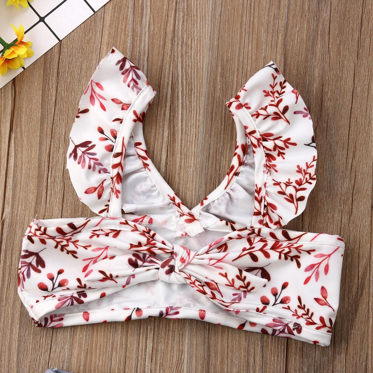 Лидер продаж, комплект из 2 предметов для маленьких девочек, Леопардовый цветочный принт, купальный костюм, бандаж, оборки, детский пляжный л... 23