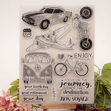 Journey Aircraft Bike Transparent Clear Stamps Silicone Seal for DIY Scrapbooking Card Making Photo Album Decor Supplies Crafts