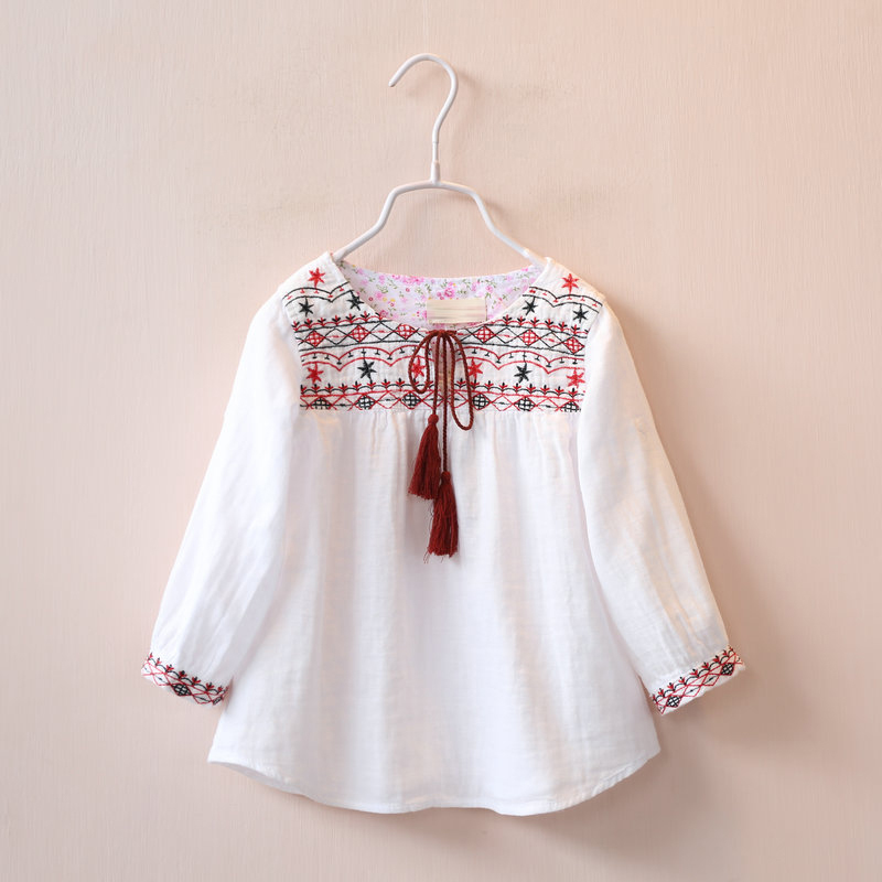 Spring children's clothing female child embroidered tassel lacing dress child cotton long-sleeve shirt