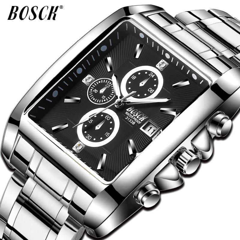 BOSCK Hombres Top Marca de Lujo Casual Regalo de acero inoxidable - Relojes para hombres