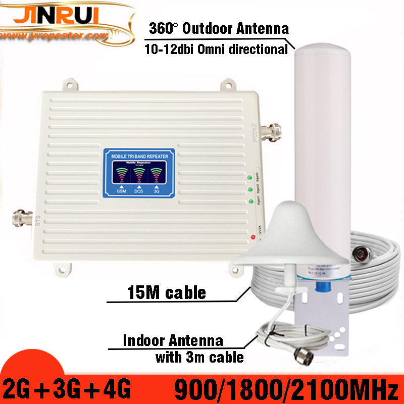 Mobile Amplifier tri band repeater 900 1800 2100 GSM repeater DCS WCDMA 2G 3G 4G repeater