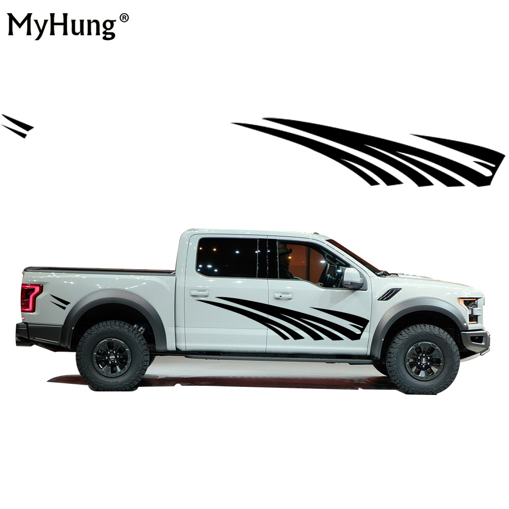 Stickers For TOYOTA Hilux Tundra Creative Car Accessories Deacls Cover Car Scratches DIY Car Styling PVC Car Sticker 2PCS 2 pc hilux hilux chequered racing side stripe graphic vinyl sticker for toyota hilux decals