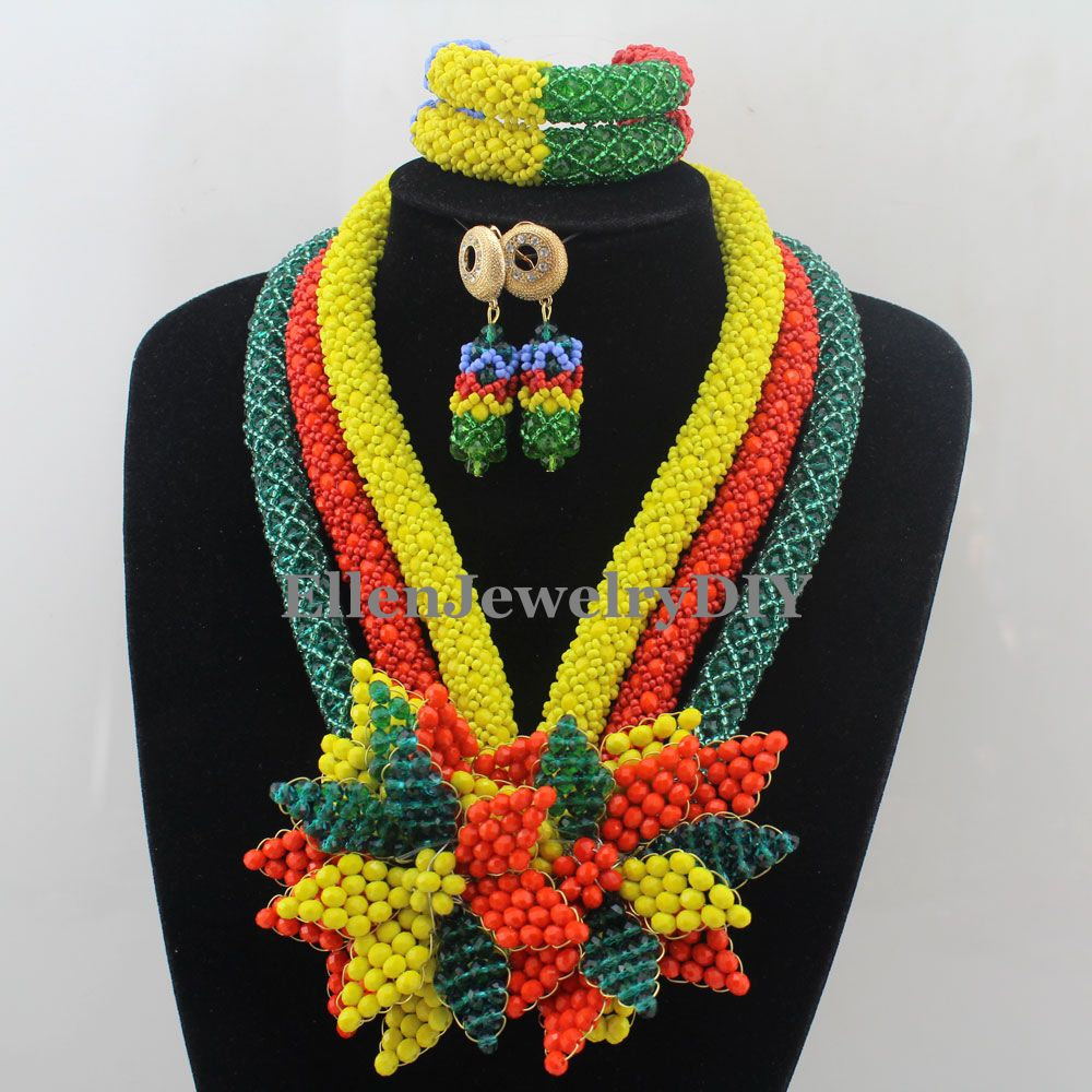 Luxury Multicolored African accessories beads jewelry sets india nigerian flower beads beaded wedding necklace dubai W12900 starfield pure string beads beads bracelets tassels roasted blue flower accessories amber beaded bracelet factory wholesale