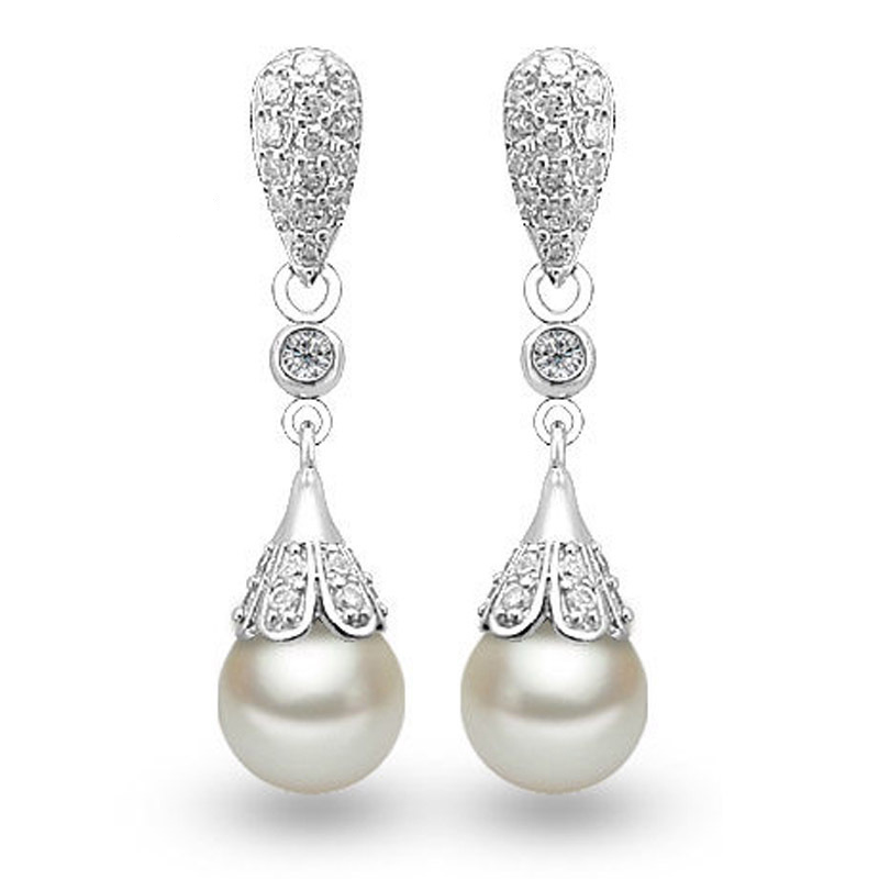 Crystals From Swarovski Pearl Earring Elegant Sliver Color Long Freshwater Earrings For Woman Jewelry Brincos Gift In Stud