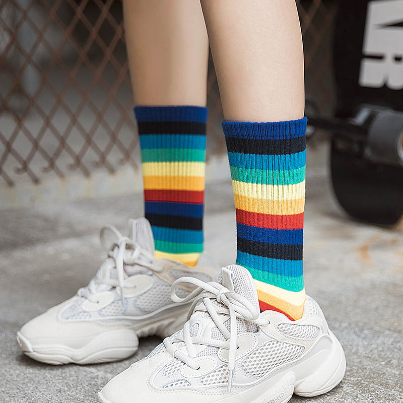Ladies//Girls Pink And Blue Striped Thick Sporty Cotton Tube Ankle Socks