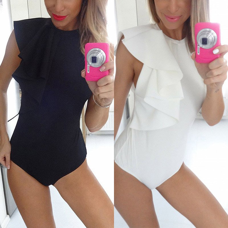 Women Club Bodysuits Female Rompers Summer Style Petal Sleeve Sexy Slim Party Jumpsuit