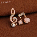 Hot Sale Rhinestone Music Notation Flowers Asymmetry Stud Earrings Classic Vintage Crystal Short  Earrings For Women Wholesale