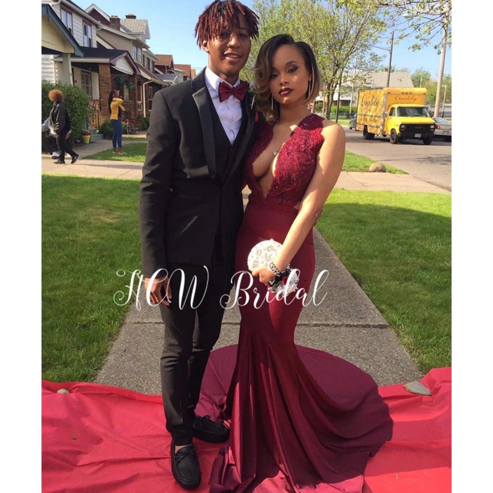V Neck Burgundy Mermaid   Evening     Dress   2019 Appliques Elastic Satin Sweep Train Long Prom Gowns Custom Made Vestido De Festa