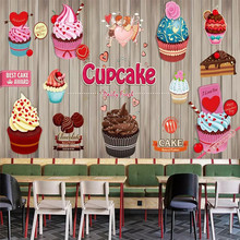 Custom wallpaper mural cake coffee cake shop dessert shop bakery background wall цена 2017