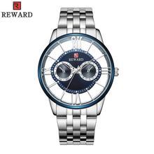 цена REWARD Business Men Watch Top Quality Luxury Quartz Watches Clock Men Stainless Steel Band Transparent Watch JD-RD61002M онлайн в 2017 году