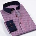 Camisa a rayas de los hombres slim fit 2015 Nueva Marca de Algodón Marca Estípite Los Hombres sólidos Camisas de Vestir de Manga Larga 4XL Blanco Azul Chemise Homme