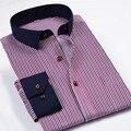 Camisa listrada Marca dos homens slim fit 2015 Nova Marca de Algodão Estipe Os Homens Se Vestem Camisas de Manga Longa sólida 4XL Azul Branco Chemise Homme