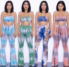 2016 Autumn and winter Women's ladies clothing Full Length Print Mid Casual Bandage flare Pants + bras Two Piece Set X003