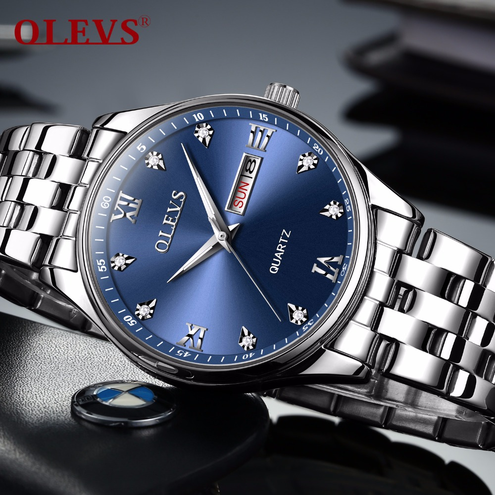OLEVS saat relogio masculino men's watch steel quartz wrist gift waterproof top brand are fashionable design watch of men clock цена и фото